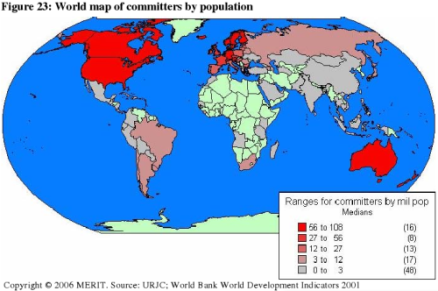 World Map of Commiters by population